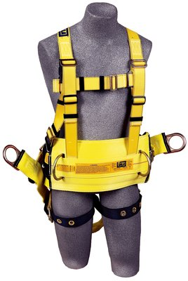 "Delta™ Derrick Harness, Seat Sling TB/PT, 1106106 1106107 1106108 1106112, Derrick Harness, 18"" dorsal D-ring extension, belt & hip pad with back D-ring, seat sling, tongue buckle legs, pass-thru connection to 1000570 derrick belt, front"