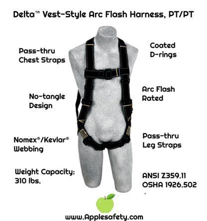 Delta™ Vest-Style Arc Flash Harness, PT/PT, 1110830 1110831, front, chart