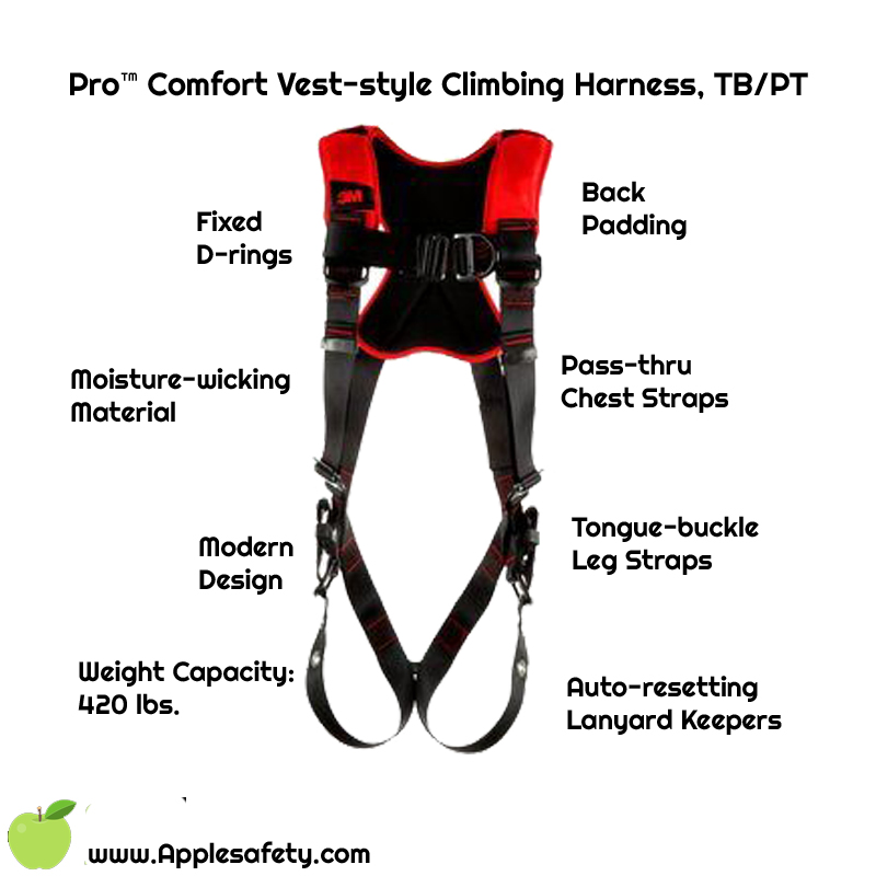 Pro™ Comfort Vest-style Climbing Harness, TB/PT, 1161429-1161430-1161431-1161432, front, Fixed front and back D-ringsBack paddingTongue-buckle Leg StrapsPass-thru Chest StrapsMoisture-wicking, breathable materialANSI Auto-resetting lanyard keepersWeight Capacity: 420 lbs.