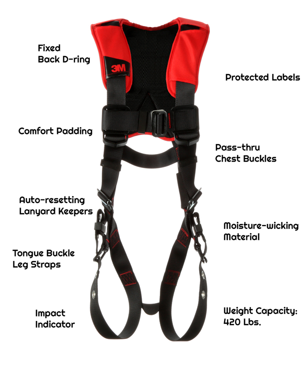 Fixed back D-ringComfort PaddingMoisture-wicking, breathable materialAuto-resetting lanyard keepersTongue buckle leg strapsPass-thru chest buckles