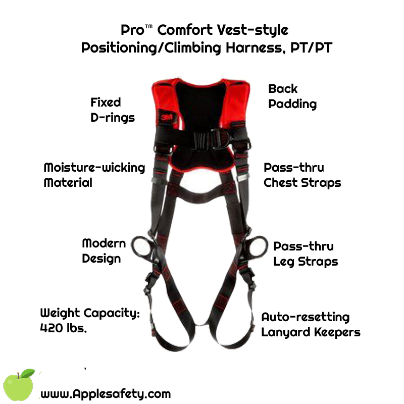 Pro™ Comfort Vest-style Positioning/Climbing Harness, PT/PT, 1161436-1161437-1161438, front, Fixed front back and side D-ringsBack paddingPass-thru Leg StrapsPass-thru Chest StrapsMoisture-wicking, breathable materialANSI Auto-resetting lanyard keepersWeight Capacity: 420 lbs.