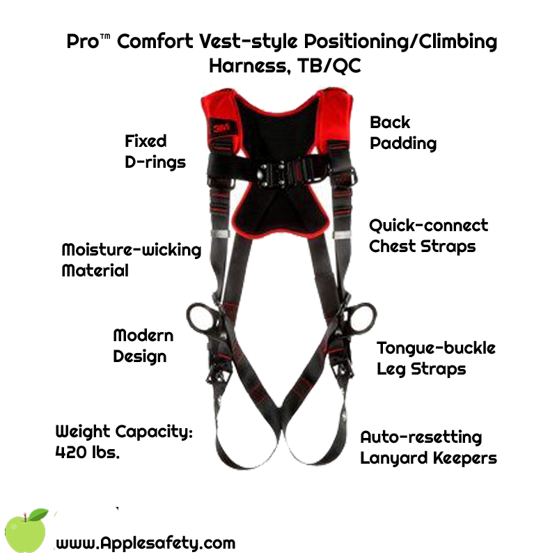 Pro™ Comfort Vest-style Positioning/Climbing Harness, TB/QC, 1161439-1161440-1161441, front chart