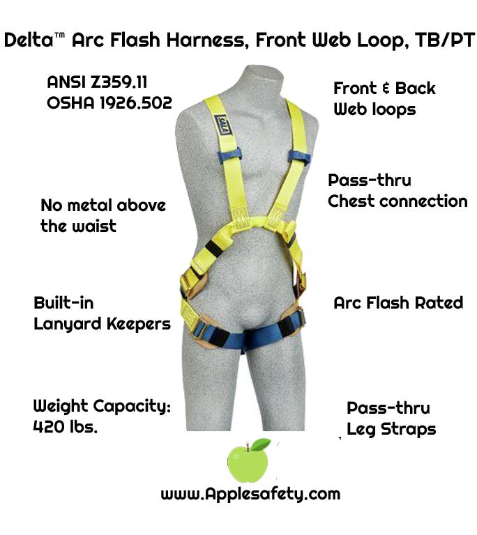 3M™ DBI-SALA® Delta™ rc Flash Harness, Dorsal/Front Web Loop, 1110750 1110751 1110752 1110754,, 7000 lb nylon web, no metal above the waist, front & back web loop, pass thru buckle legs, leather insulators, front, chart