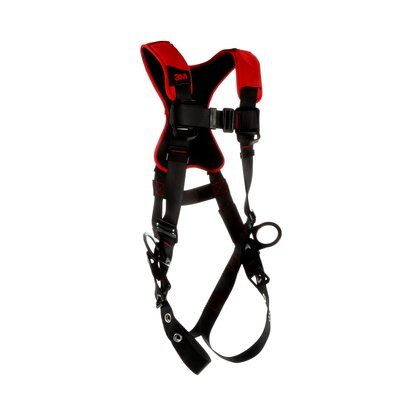 3M™ Protecta® Comfort Vest-Style Positioning Harness, Fixed back and side d-rings Back padding Tongue-buckle Leg Connection Pass-thru Chest Connection Moisture-wicking, breathable material ANSI Auto-resetting lanyard keepers Weight Capacity: 420 lbs., 1161413-1161414-1161415-1161416, front right