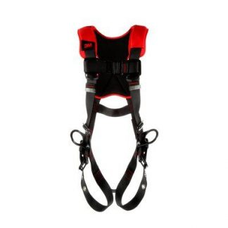 3M™ Protecta® Comfort Vest-Style Positioning Harness, Fixed back and side d-ringsBack paddingTongue-buckle Leg ConnectionPass-thru Chest ConnectionMoisture-wicking, breathable materialANSI Auto-resetting lanyard keepersWeight Capacity: 420 lbs., 1161413-1161414-1161415-1161416