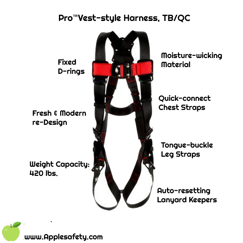 3M™ Protecta® Vest-Style Harness, 1161500-1161501-1161502-1161503-1161504-1161505, front chart