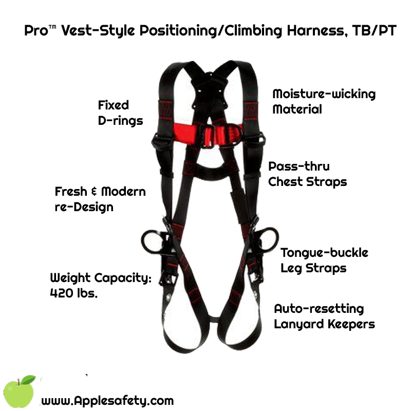 Pro™ Vest-Style Positioning/Climbing Harness, TB/PT, 1161506-1161507-1161508-1161509, Front chart