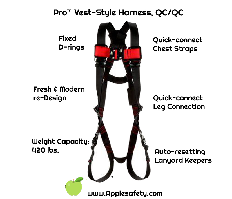 Pro™ Vest-Style Harness, TB/PT, 161524-1161525-1161526-1161527, front, chart, Back D-ringQuick-Connect Leg StrapsQuick-Connect Chest Connection Moisture-wicking, breathable material ANSI Auto-resetting lanyard keepers Weight Capacity: 420 lbs.
