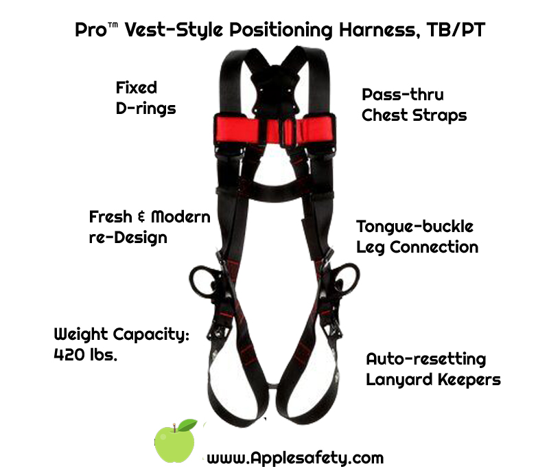 1161531 - Pro™ Vest-Style Positioning Harness, TB/PT,  1161531-1161532-1161533-1161534, front chart