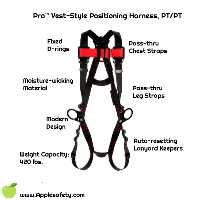 Pro™ Vest-Style Positioning Harness, PT/PT, 1161559-1161560-1161561-1161562, front chart
