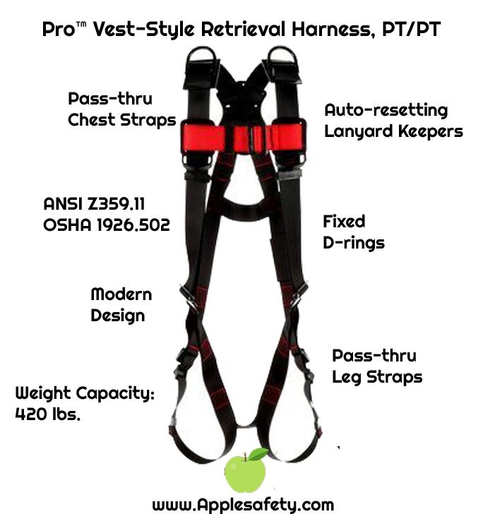Pro™ Vest-Style Retrieval Harness, PT/PT, 1161576-1161577-1161578-1161579., front chart