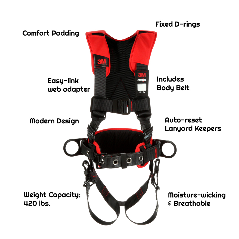 1161205 - Construction/Positioning Harness, Back & Side D-rings, Easy-link Web Adapter