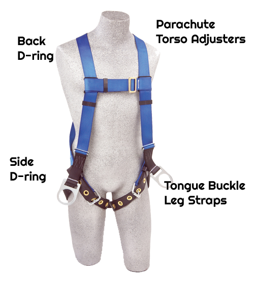 3M™ PROTECTA® First™ Vest-Style Positioning Harness AB17560, Universal, front,Back D-ringSide D-ringTongue-buckle leg strapsParachute torso adjustersDurable polyester constructionWeight capacity: 310 lbs.