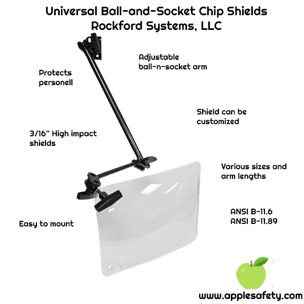 "Universal Ball-and-Socket Chip Shields Rockford Systems, LLC, Protects personell, 3/16"" High impact shields, Easy to mount, Adjustable ball-n-socket arm, Shield can be customized, Various sizes and arm lengths, ANSI B-11.6 ANSI B-11.89"