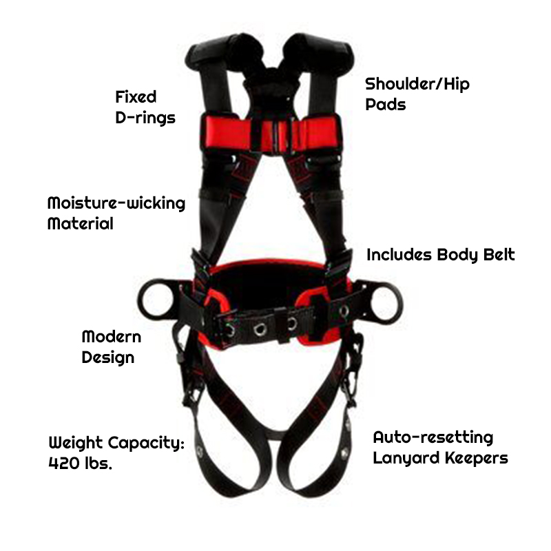 3M™ Protecta® Construction Style Positioning Harness 1161308-1161309-1161310-1161311, Black