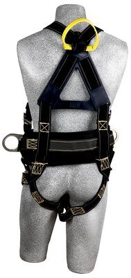 Delta™ Arc Flash Construction Style Positioning Harness, QC/PT, 1110800 1110801 1110802 1110803, Nomex® / Kevlar® fiber webbing, construction style, back web loop, quick connect buckles, pass thru belt/hip pad with side D-rings, no rescue loops/insulators, rear
