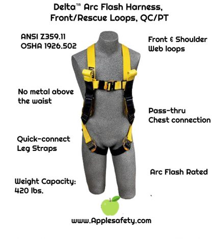3M™ DBI-SALA® Delta™ Arc Flash Harness, Dorsal/Rescue Web Loops, 1110780 1110781 1110782 1110788, chart