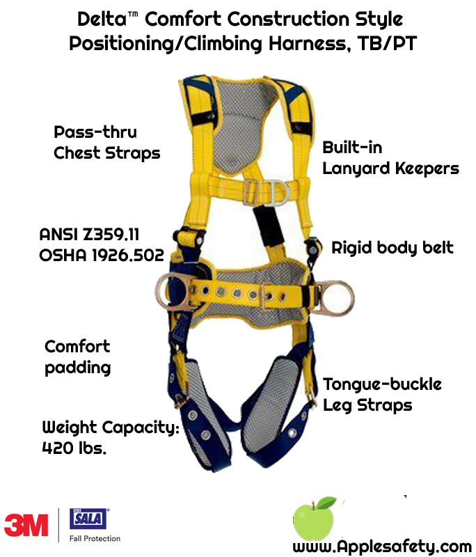 Delta™ Comfort Construction Style Positioning/Climbing Harness, TB/PT, front, 1100632 1100633 1100634 1100635, chart