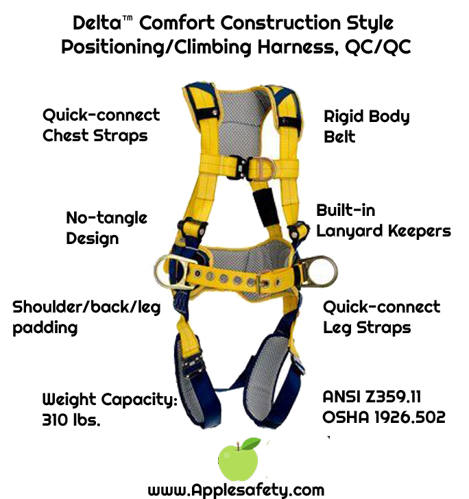 Delta™ Comfort Construction Style Positioning/Climbing Harness, QC/QC, 1100517 1100518 1100519 1100523, front, chart