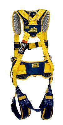 Delta™ Comfort Construction Style Positioning Harness, QC/QC ,1100785 1100786 1100787 1100788, front, Back and side D-rings, belt with pad, quick connect buckle leg and chest straps, comfort padding, rear