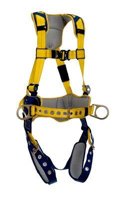 1100795 1100796 1100797 1100798, Delta™ Comfort Construction Style Positioning Harness, TB/PT, Back and side D-rings, belt with pad, tongue buckle leg straps, comfort padding, front