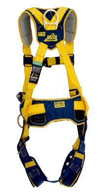 1100795 1100796 1100797 1100798, Delta™ Comfort Construction Style Positioning Harness, TB/PT, Back and side D-rings, belt with pad, tongue buckle leg straps, comfort padding, rear