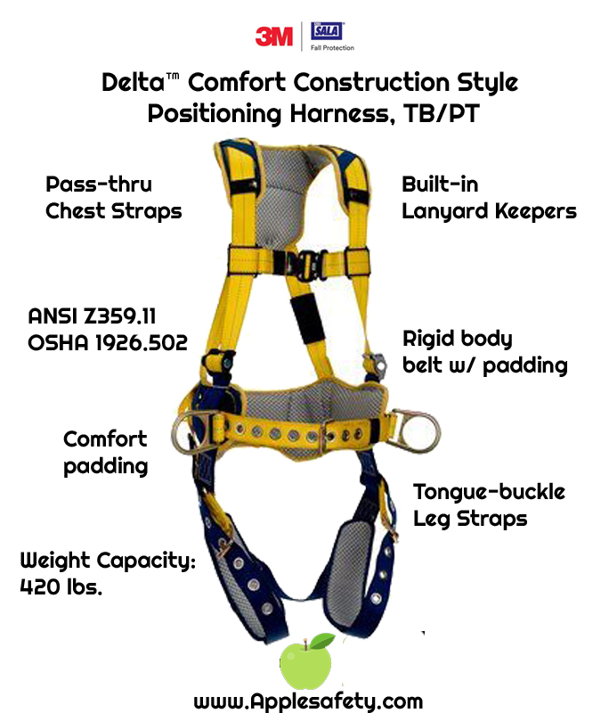 1100795 1100796 1100797 1100798, Delta™ Comfort Construction Style Positioning Harness, TB/PT, Back and side D-rings, belt with pad, tongue buckle leg straps, comfort padding, chart