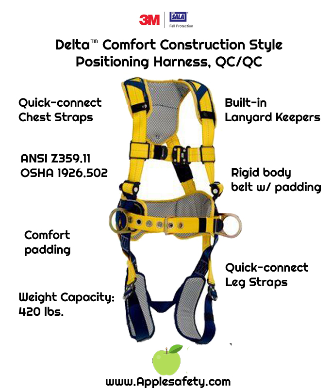 Delta™ Comfort Construction Style Positioning Harness, QC/QC ,1100785 1100786 1100787 1100788, front, Back and side D-rings, belt with pad, quick connect buckle leg and chest straps, comfort padding, front,chart