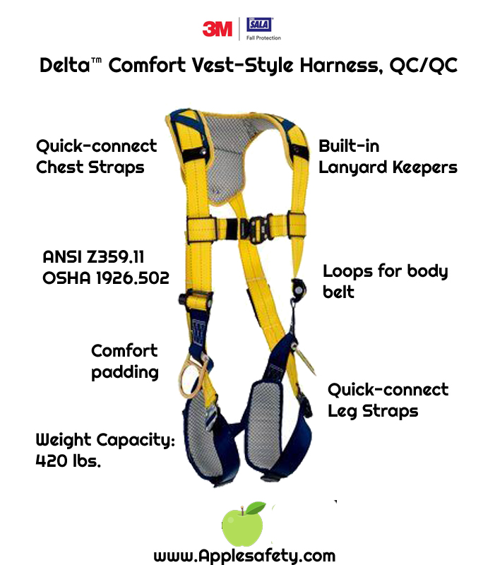 Delta™ Comfort Vest-Style Harness, QC/QC, 1100935 1100936 1100937 1100938, Back D-ring, quick connect buckle leg and chest straps, comfort padding, front chart