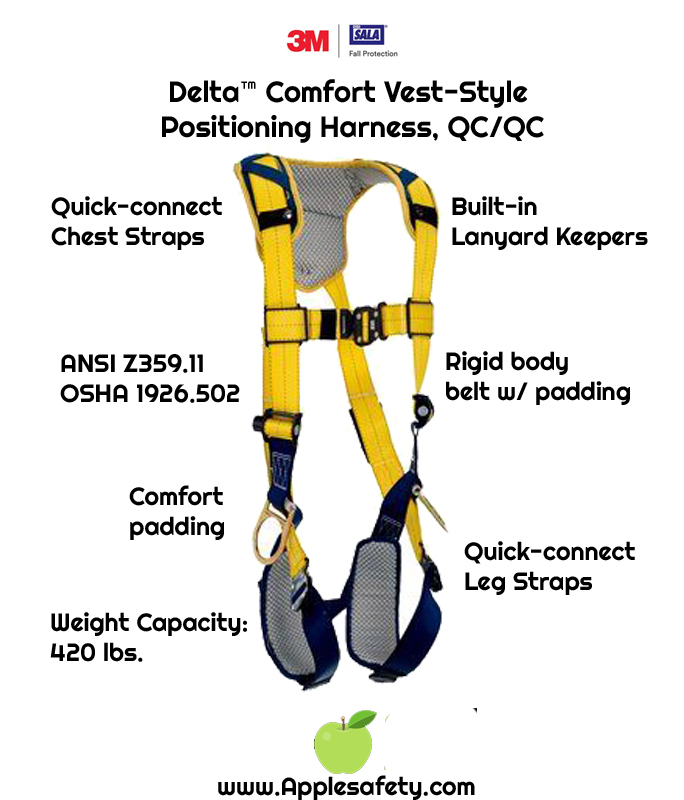 Delta™ Comfort Vest-Style Positioning Harness, QC/QC, 1100821 1100822 1100823 1100824, Back and side D-rings, quick connect buckle leg and chest straps, comfort padding, chart