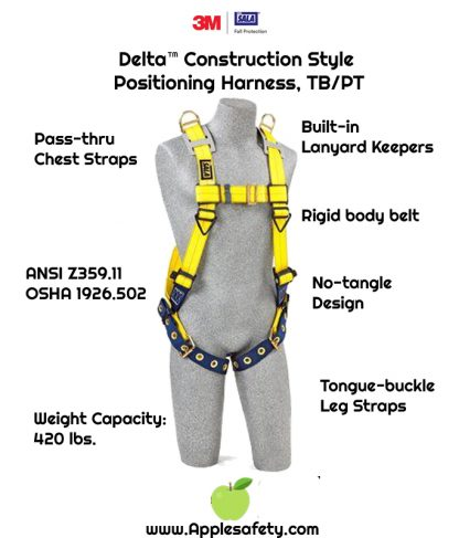 Delta™ Construction Style Positioning Harness, TB/PT, 1101654 1101655 1101656, front chart