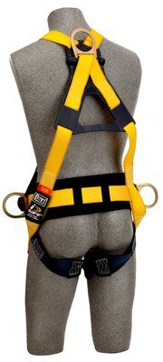 Delta™ Cross-Over Construction Style Climbing Harness, TB/PT, 1101809 1101810 1101811 1101812, Construction cross-over style, front & back D-rings, pass thru legs, belt & pad with side D-rings, rear