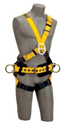 Delta™ Cross-Over Construction Style Climbing Harness, TB/PT, 1101809 1101810 1101811 1101812, Construction cross-over style, front & back D-rings, pass thru legs, belt & pad with side D-rings, front