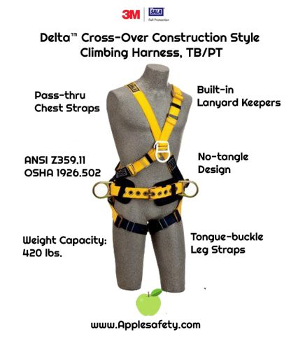Delta™ Cross-Over Construction Style Climbing Harness, TB/PT, 1101809 1101810 1101811 1101812, Construction cross-over style, front & back D-rings, pass thru legs, belt & pad with side D-rings, front chart