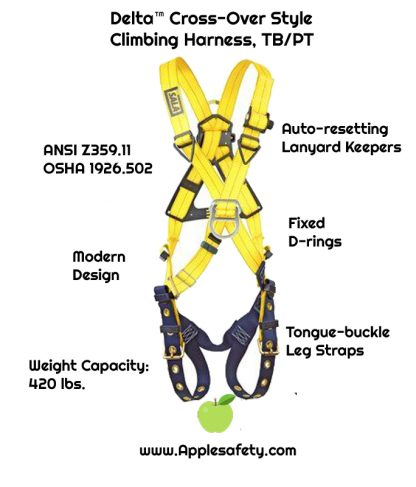 Delta™ Cross-Over Style Climbing Harness, TB/PT, 1102950 1102952, Front & back D-ring, tongue buckle leg straps, front chart
