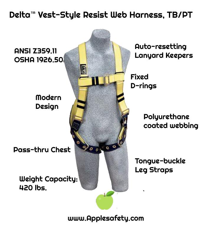 Delta™ Vest-Style Resist Web Harness, TB/PT, Resist Technology webbing, vest style, back D-ring, tongue buckle legs, 1110990, chart