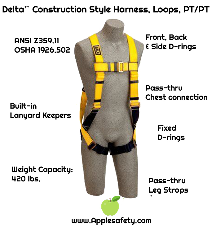 1103513, DBI-SALA® Delta™ Construction Style Harness, Loops, Back D-ring, pass thru buckle legs, loops for belt (Size Universal) front, chart