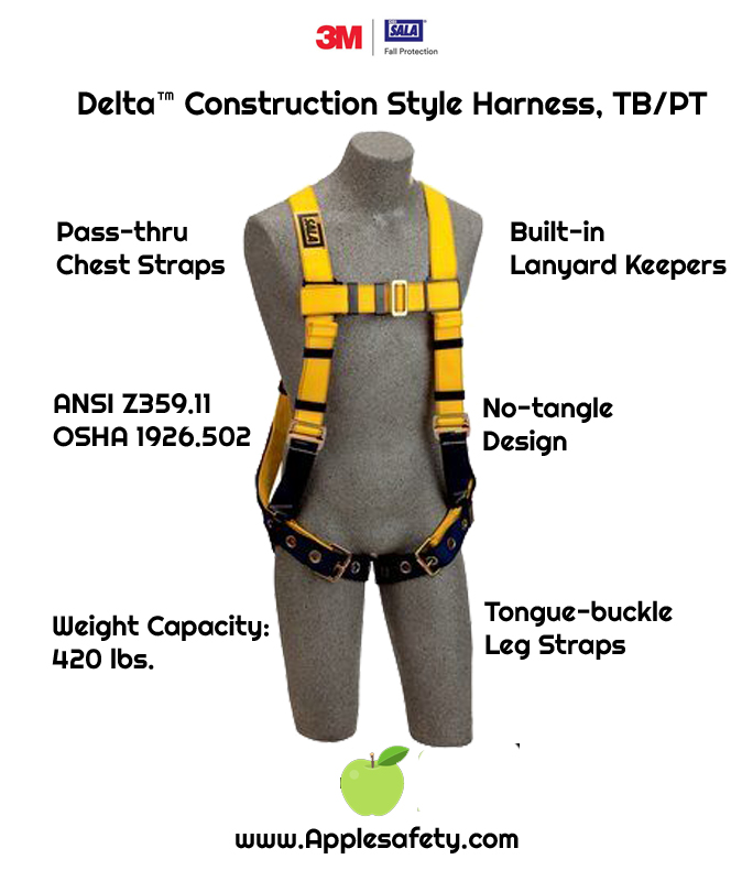 Delta™ Construction Style Harness, TB/PT, 1102526 1102529, Back D-ring, tongue buckle legs straps, loops for belt, chart