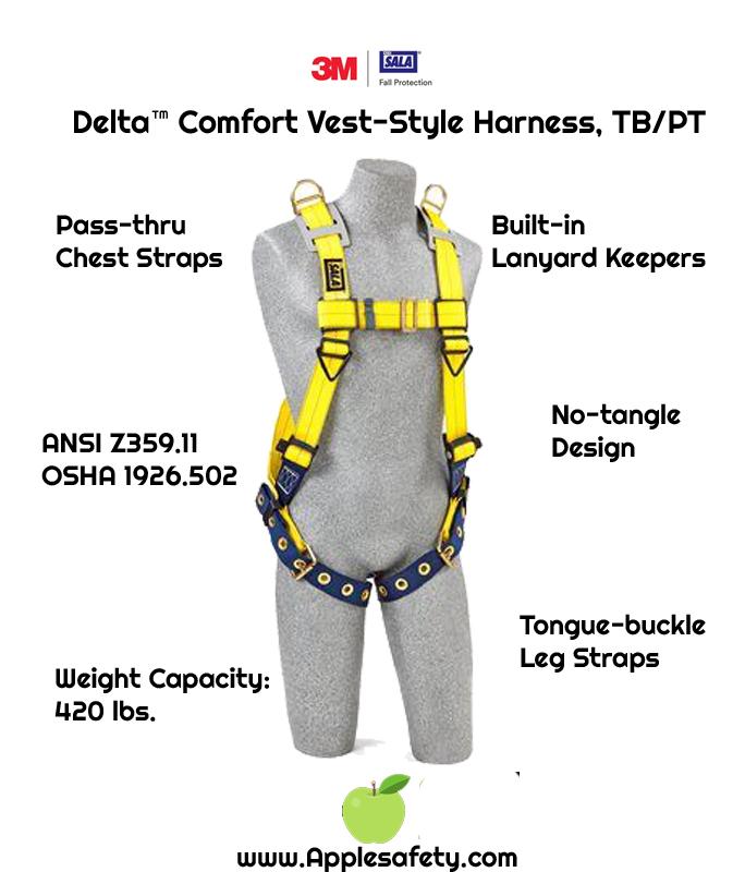 Delta™ Vest-Style Retrieval Harness , TB/PT, 1101254 1101257, Back D-ring, shoulder retrieval D-rings, tongue buckle leg straps, front chart