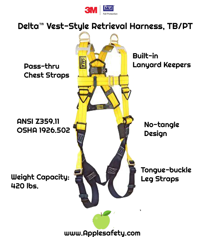 Delta™ Vest-Style Retrieval Harness, TB/PT, 1101781 1101794, Back & shoulder D-rings, pass thru buckle leg straps, front chart