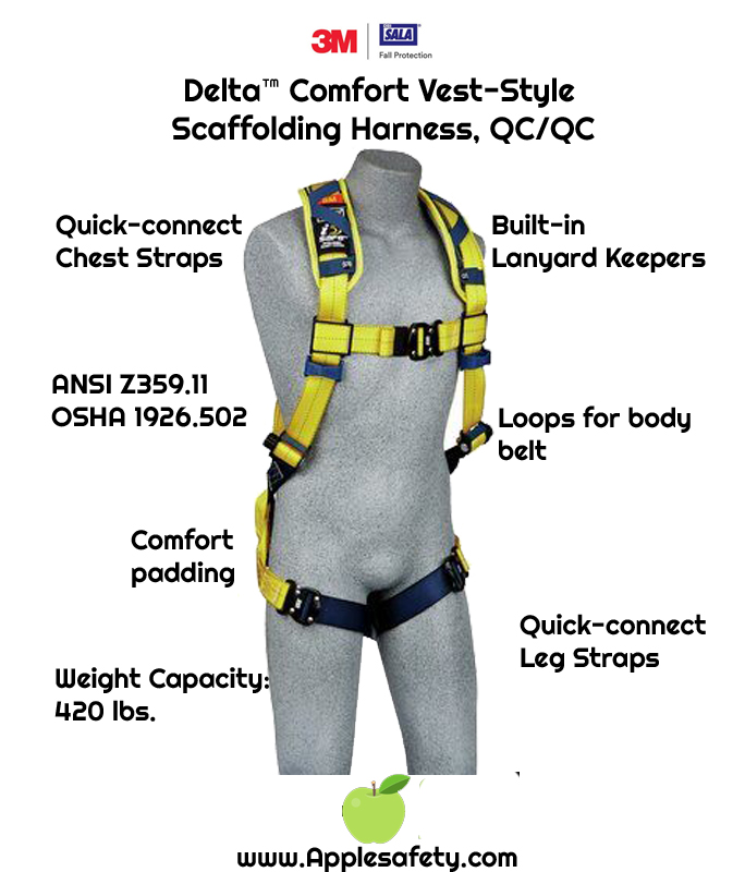 Delta™ Comfort Vest-Style Scaffolding Harness, QC/QC, 1100975 1100976 1100977 1100978, front, chart