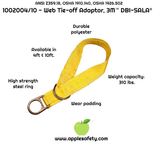 1002004 1002010, 4 ft. (1.2m) web tie-off adaptor, pass-thru type 10 ft. (3.0m) web tie-off adaptor, pass-thru type