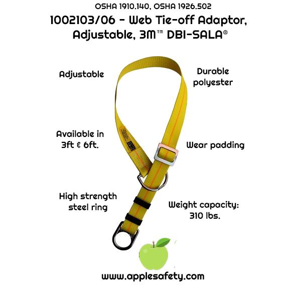 1002103 1002106 - 3 ft. (0.9m) adjustable web tie-off adaptor, pass-thru type