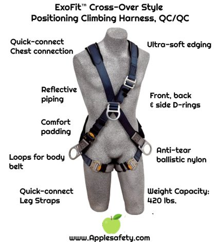 ExoFit™ Cross-Over Style Positioning Climbing Harness, QC/QC, Front, back & side D-rings, loops for belt, quick-connect buckles, 1108700 1108701 1108702 1108706, chart