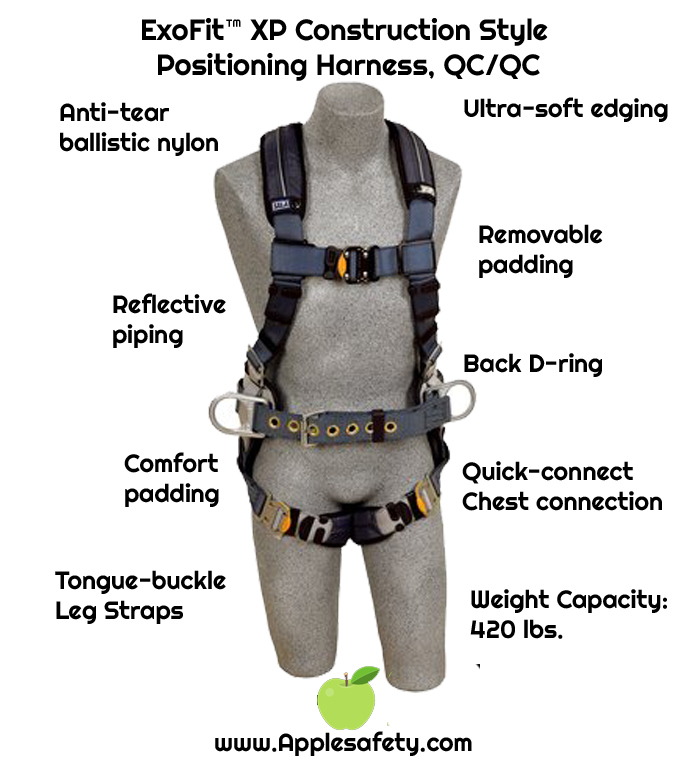 ExoFit™ XP Construction Style Positioning Harness, QC/QC, Back D-ring, sewn in back pad & belt with side D-rings, quick-connect buckles, 1110150 1110151 1110152 1110153, front chart