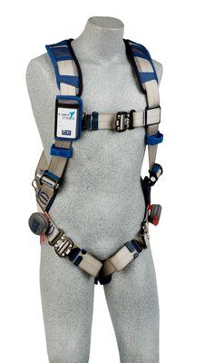 3M™ DBI-SALA® ExoFit STRATA™ Vest-Style Harness, Aluminum back D-ring, locking quick-connect buckles on legs and chest, 1112495 1112496 1112497 1112498, front