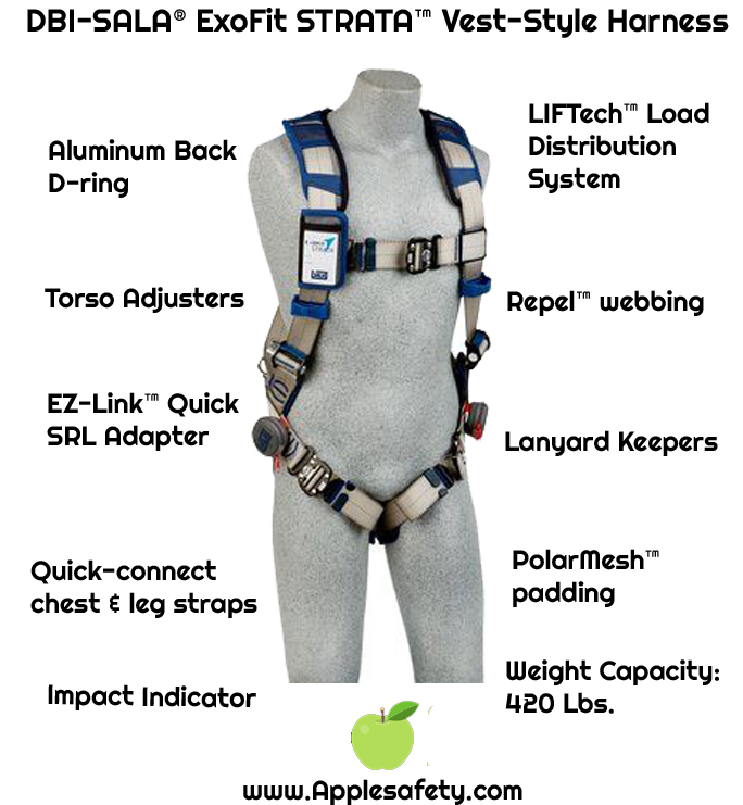 3M™ DBI-SALA® ExoFit STRATA™ Vest-Style Harness, Aluminum back D-ring, locking quick-connect buckles on legs and chest, 1112495 1112496 1112497 1112498, front chart