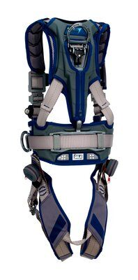 ExoFit STRATA™ Construction Style Positioning/Climbing Harness, Aluminum back, front, and side D-rings, Tri-Lock Revolver™ quick connect buckles, waist pad and belt, 1112540 1112541 1112542 1112543, rear