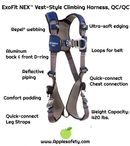 ExoFit NEX™ Vest-Style Climbing Harness, QC/QC, Aluminum front & back D-rings, locking quick connect buckles, 1113031 1113034 1113037 1113040, front chart