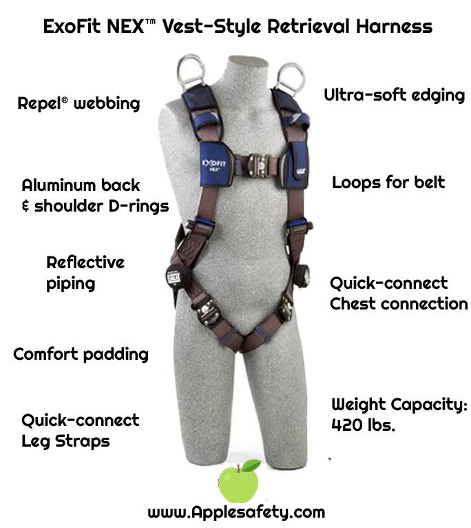 3M™ DBI-SALA® ExoFit NEX™ Vest-Style Retrieval Harness, Aluminum back & shoulder D-rings, locking quick connect buckles, 1113061 1113064 1113067 1113070, frontchart